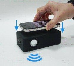 画像4: 置くだけスピーカー!ワイヤーレススピーカー(ブルー)  iPhone、各種スマホ、iPod に対応!